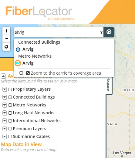 New FiberLocator search bar