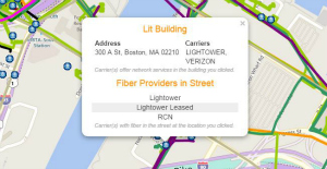 Popup window to identify lit buildings and carrier info